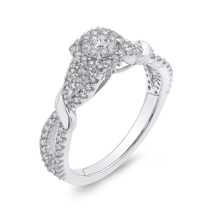 10K White Gold 1/2 ct White Diamond Fashion Ring|***Complete Ring Engagement Ring LUMINOUS