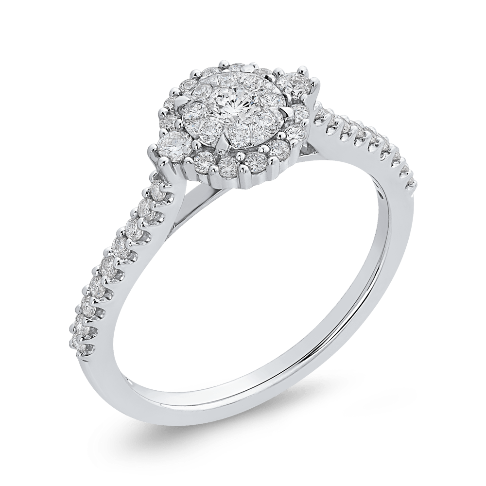 10K White Gold 1/2 ct White Diamond Double Halo Fashion Ring|***Complete Ring Engagement Ring LUMINOUS
