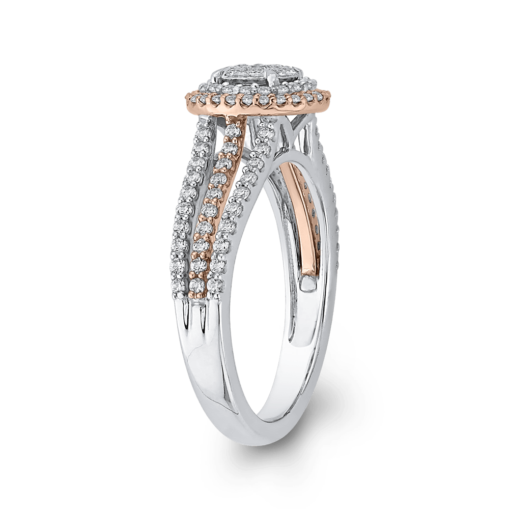 10K Two Tone Gold 3/4 ct Round Diamond Fashion Ring|***Complete Ring Engagement Ring LUMINOUS