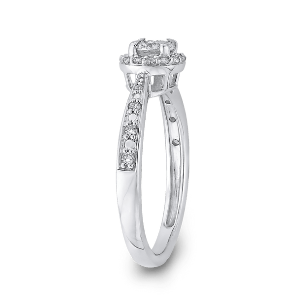 10K White Gold 1/4 ct Round Diamond Double Halo Fashion Ring|***Complete Ring Engagement Ring LUMINOUS