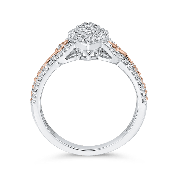1/2 ct Round Diamond 10K Two Tone Gold Fashion Ring|***Complete Ring Engagement Ring LUMINOUS