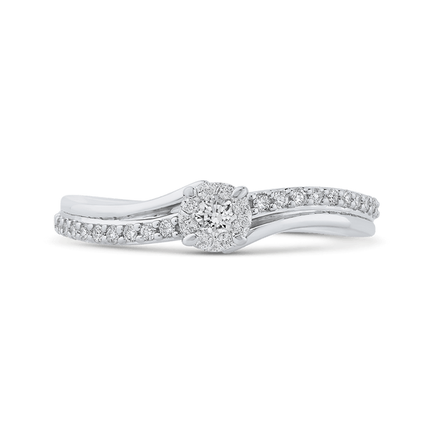 10K White Gold 1/4 ct Round Diamond Halo Fashion Ring|***Complete Ring Engagement Ring LUMINOUS