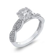 10K White Gold 3/4 ct White Diamond Halo Fashion Ring|***Complete Ring Engagement Ring LUMINOUS