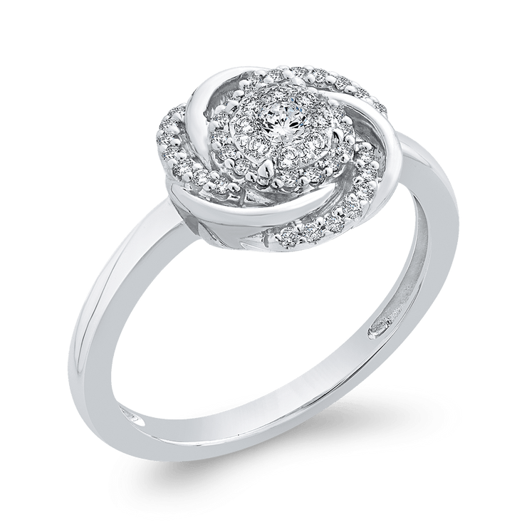 10K White Gold 1/4 ct Round Diamond Swirl Fashion Ring|***Complete Ring Engagement Ring LUMINOUS