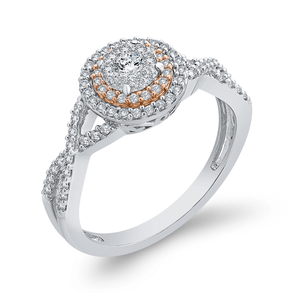 3/8 ct Round White Diamond 10K Two Tone Gold Fashion Ring|***Complete Ring Engagement Ring LUMINOUS