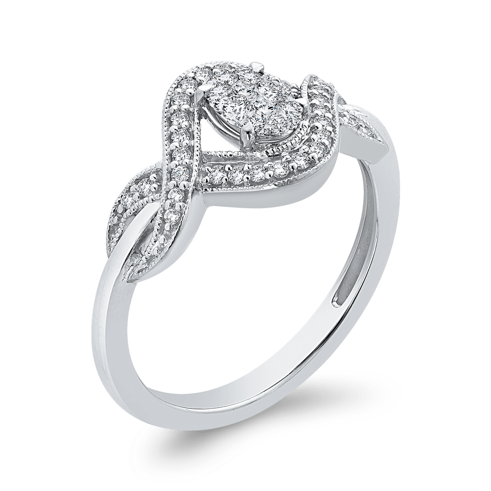 10K White Gold 1/4 ct Round Diamond Infinity Fashion Ring|***Complete Ring Engagement Ring LUMINOUS