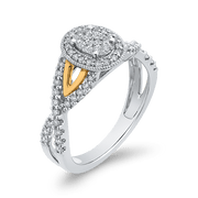 10K Two Tone Gold 1/2 ct Round White Diamond Fashion Ring|***Complete Ring Engagement Ring LUMINOUS