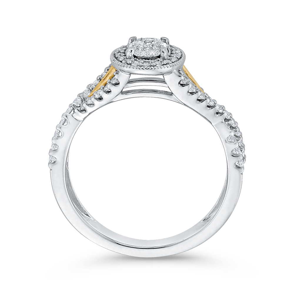 10K-Two-Tone-Gold-1/2-ct-Round-White-Diamond-Fashion-Ring