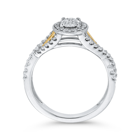 Image of 10K-Two-Tone-Gold-1/2-ct-Round-White-Diamond-Fashion-Ring