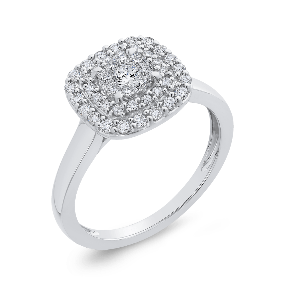 10K White Gold 1/2 ct White Diamond Cluster Fashion Ring|***Complete Ring Engagement Ring LUMINOUS