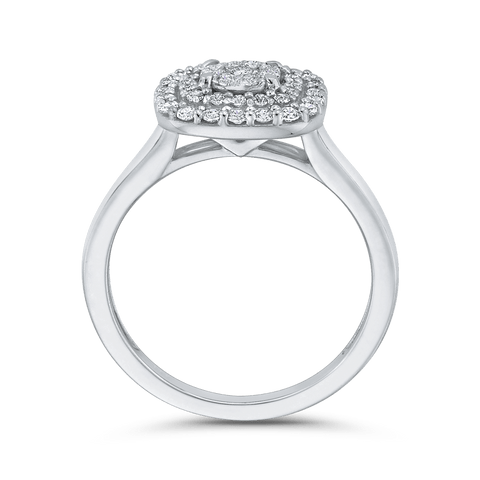 Image of 10K-White-Gold-1/2-ct-White-Diamond-Cluster-Fashion-Ring