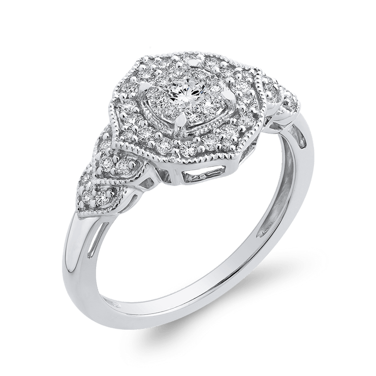10K White Gold Round 3/8 ct White Diamond Fashion Ring|***Complete Ring Engagement Ring LUMINOUS