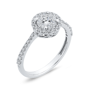1/2ctw Double Halo Engagement Ring