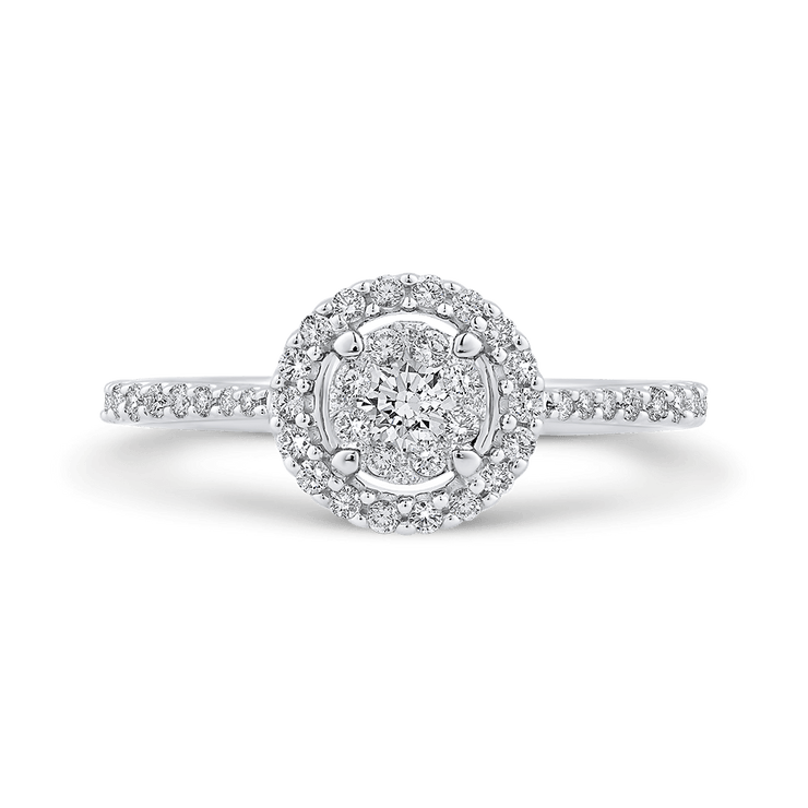 1/2 ct Round Diamond 10K White Gold Double Halo Fashion Ring|***Complete Ring Engagement Ring LUMINOUS