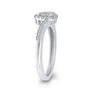 1/3 ct Round Diamond 10K White Gold Fashion Promise Ring|***Complete Ring