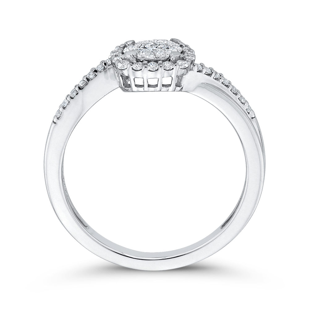 1/3 ct Round Diamond 10K White Gold Fashion Promise Ring|***Complete Ring Ring LUMINOUS