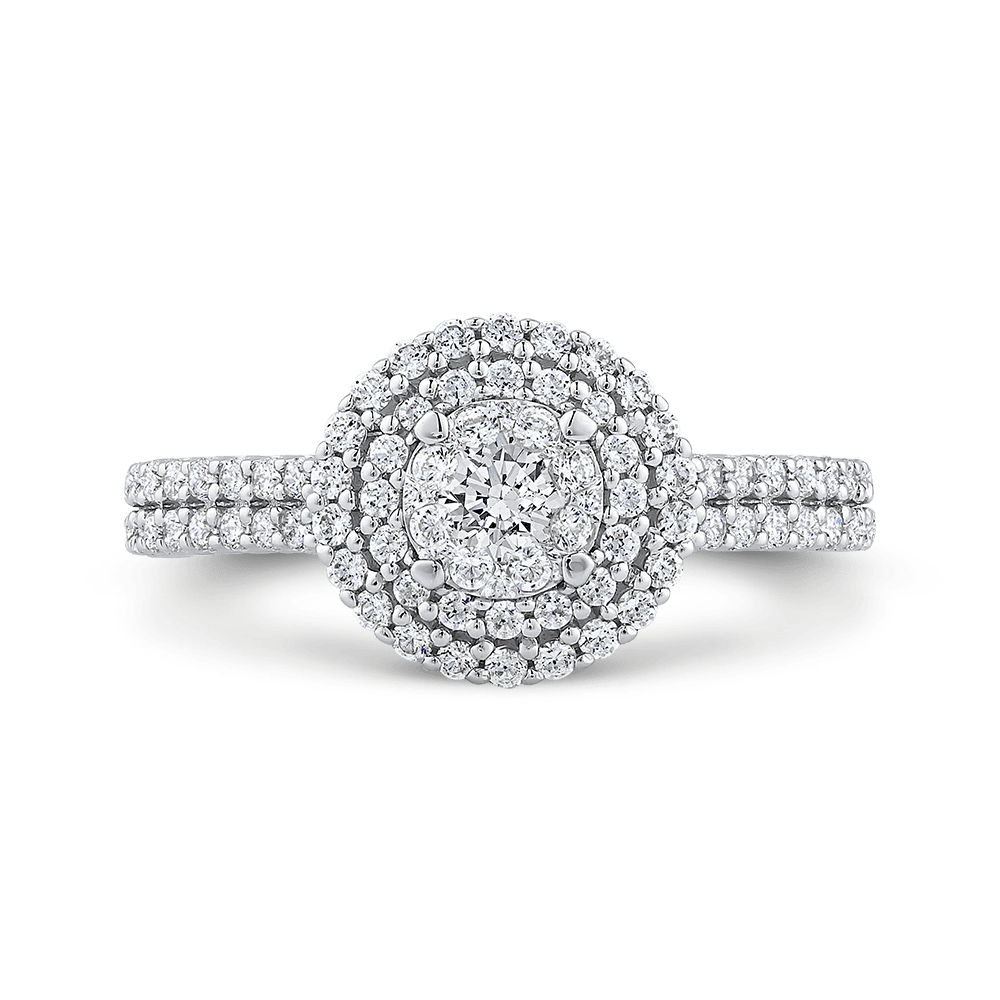 10K White Gold 2/3 ct White Diamond Cluster Fashion Ring|***Complete Ring Engagement Ring LUMINOUS