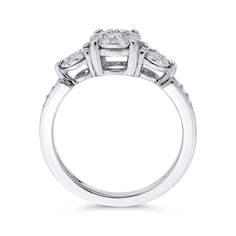 10K White Gold 2/3 ct Round Diamond Fashion Ring|***Complete Ring Engagement Ring LUMINOUS