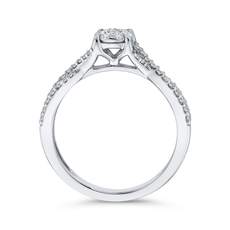 10K White Gold 3/8 ct Round White Diamond Fashion Ring|***Complete Ring Engagement Ring LUMINOUS
