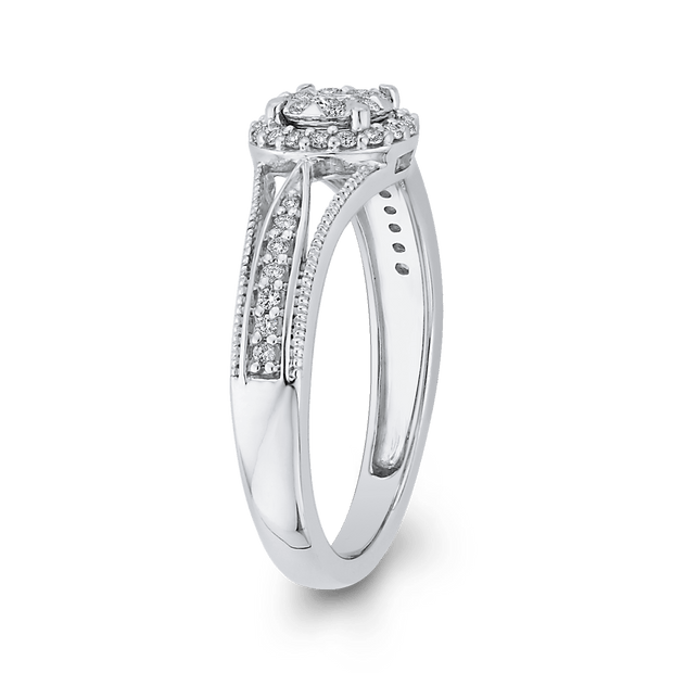 1/3 ct Round Diamond Double Halo Fashion Ring In 10K White Gold|***Complete Ring Engagement Ring LUMINOUS