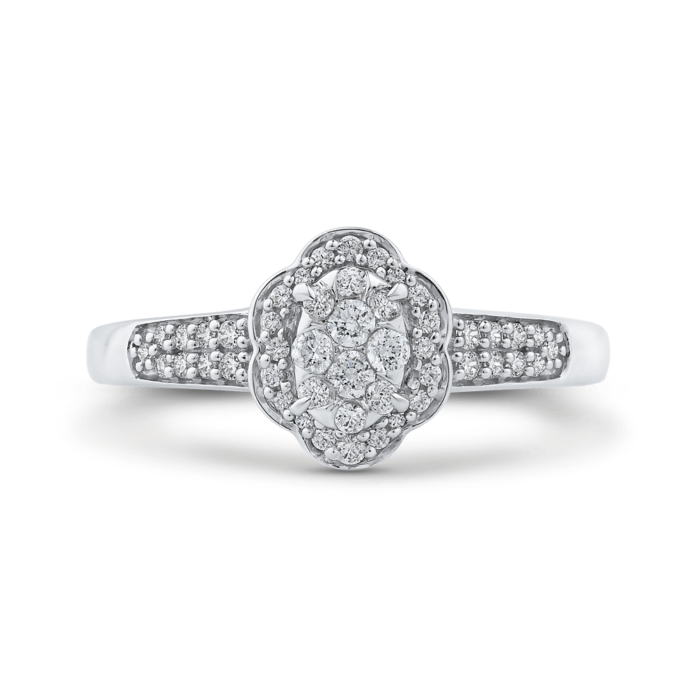 1/3 ct Round Diamond Cluster Fashion Ring In 10K White Gold|***Complete Ring Engagement Ring LUMINOUS