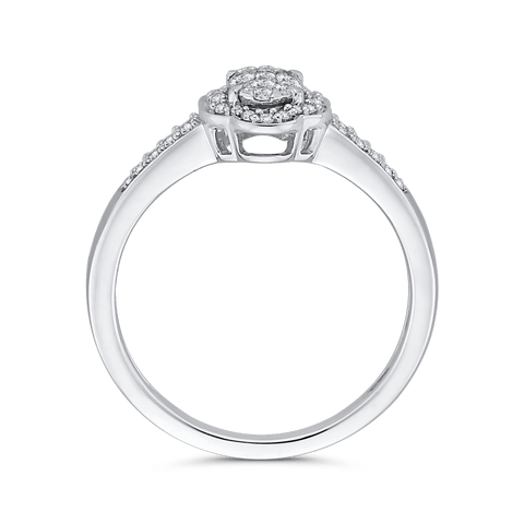 Image of 1/3-ct-Round-Diamond-Cluster-Fashion-Ring-In-10K-White-Gold