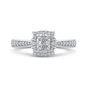 10K White Gold Round 1/3 ct White Diamond Fashion Cluster Ring|***Complete Ring Ring LUMINOUS