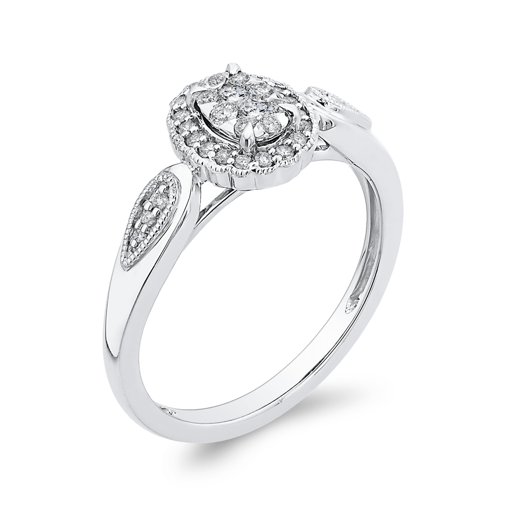 10K White Gold 1/3 ct Round Diamond Cluster Fashion Ring|***Complete Ring Engagement Ring LUMINOUS