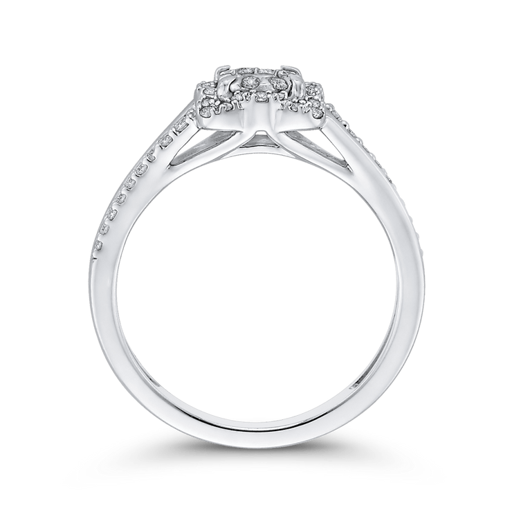 1/3 ct Round Diamond 10K White Gold Fashion Ring|***Complete Ring