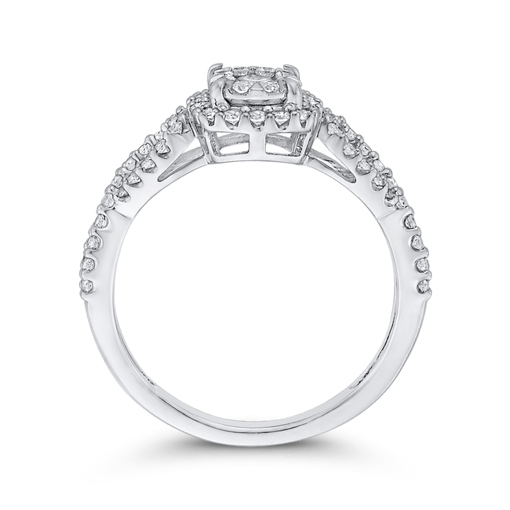 1/2 ct Round White Diamond 10K White Gold Fashion Ring|***Complete Ring Engagement Ring LUMINOUS