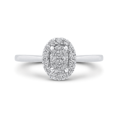 10K White Gold Round 1/3 ct White Diamond Cluster Fashion Ring|***Complete Ring Engagement Ring LUMINOUS