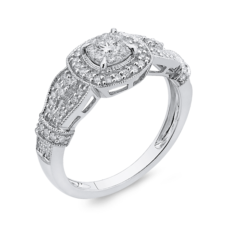 10K White Gold 1/2 ct Round Diamond Fashion Ring|***Complete Ring Engagement Ring LUMINOUS