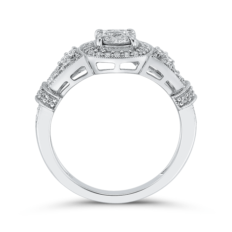 10K White Gold 1/2 ct Round Diamond Fashion Ring|***Complete Ring