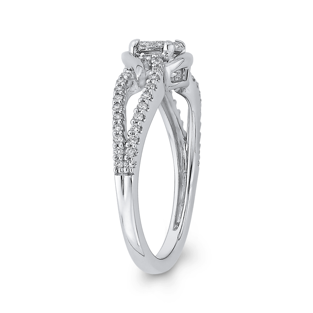 3/8 ct White Round Diamond Fashion Ring In 10K White Gold|***Complete Ring Engagement Ring LUMINOUS