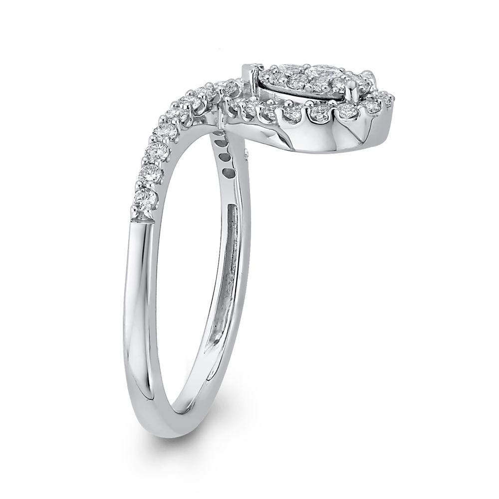 10K White Gold 1/2 ct White Round Diamond Fashion Ring|***Complete Ring Engagement Ring LUMINOUS