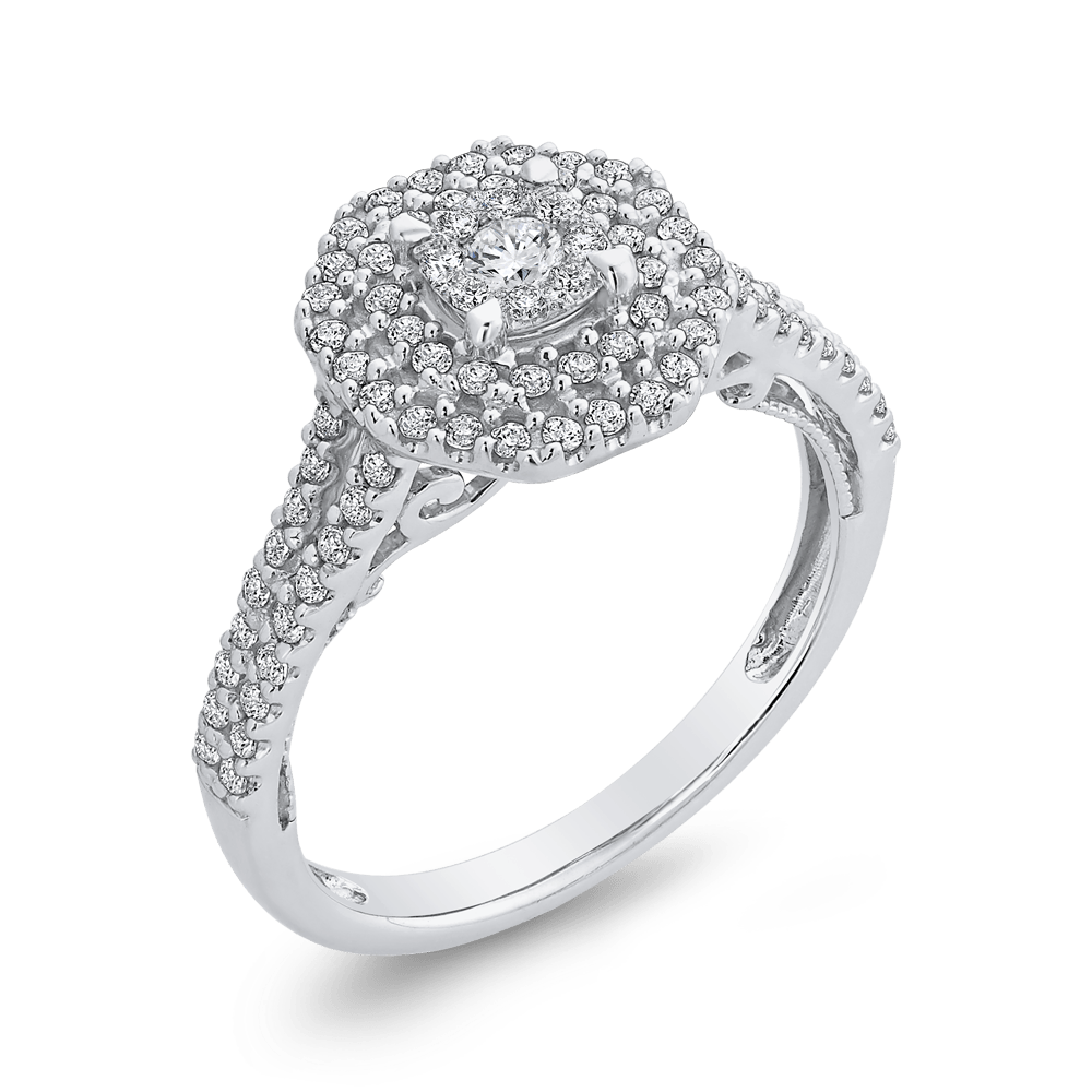 10K White Gold Round 5/8 ct Diamond Fashion Ring|***Complete Ring Engagement Ring LUMINOUS