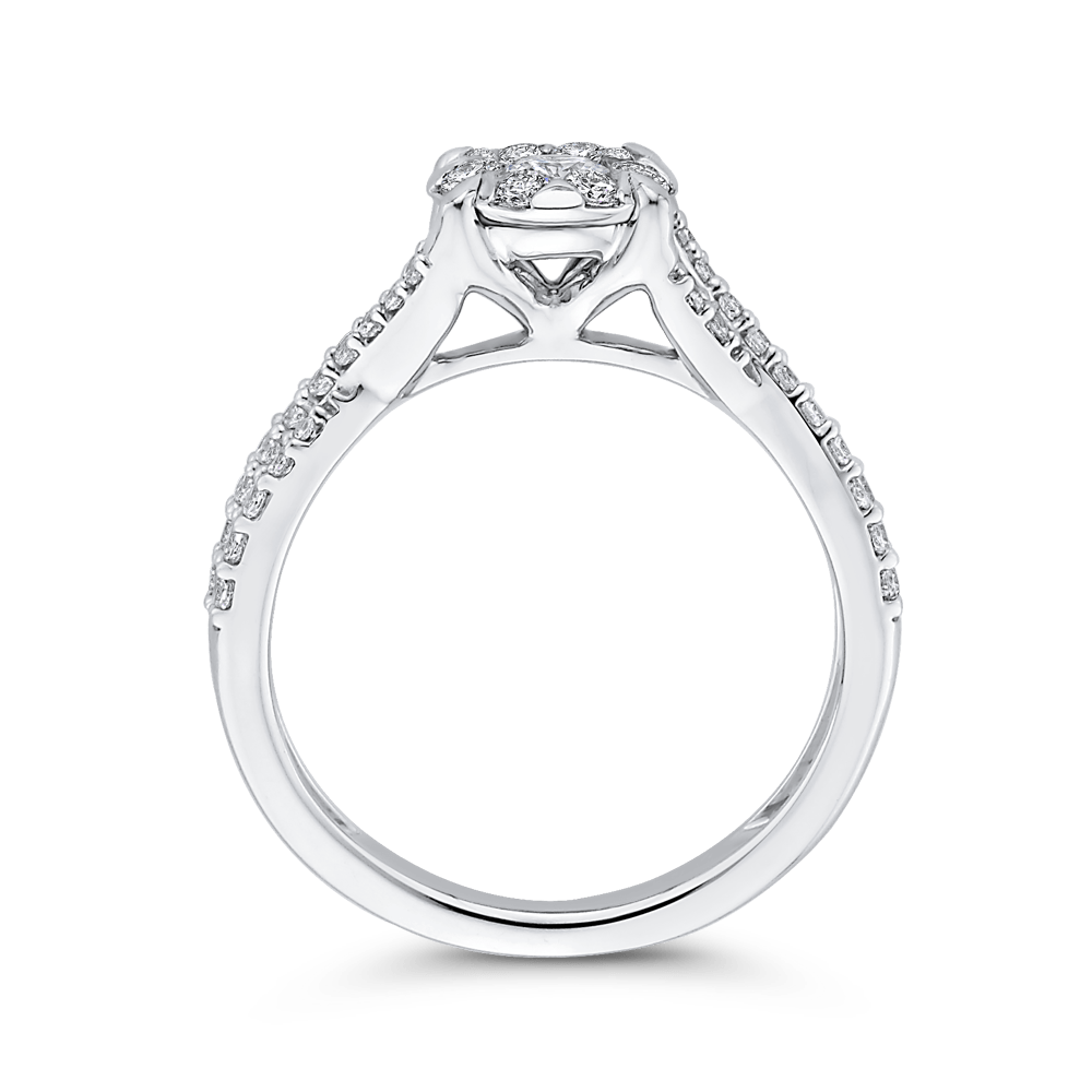10K White Gold 3/4 ct Round Diamond Promise Halo Fashion Ring|***Complete Ring Engagement Ring LUMINOUS