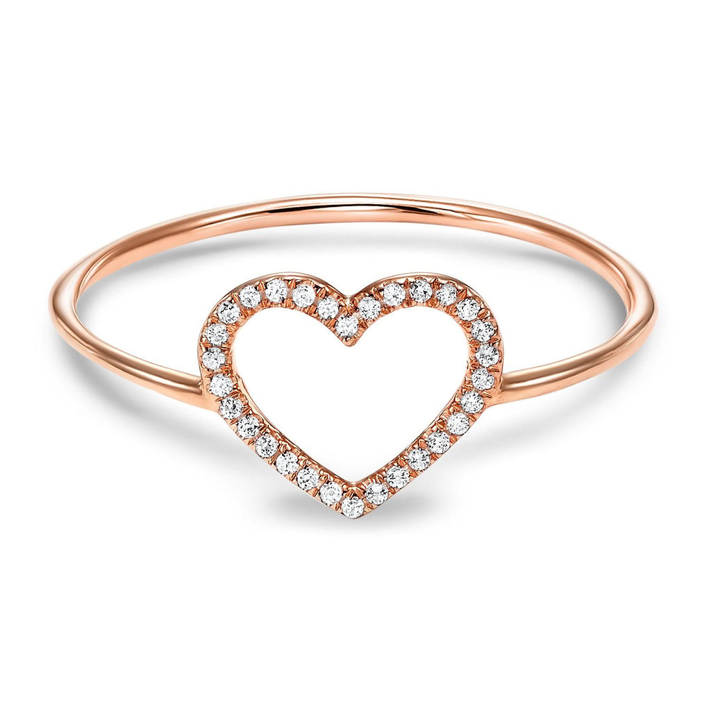 14k Rose Gold Heart Diamond Ring Fashion Ring BW James Jewelers