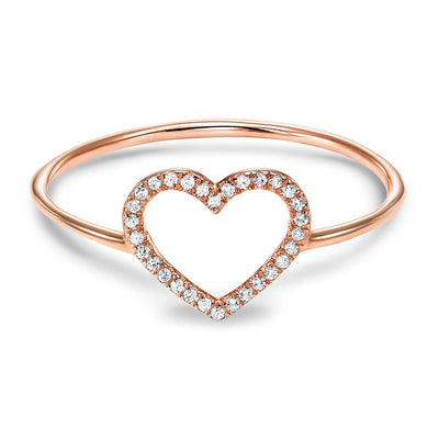 14k Rose Gold Heart Diamond Ring