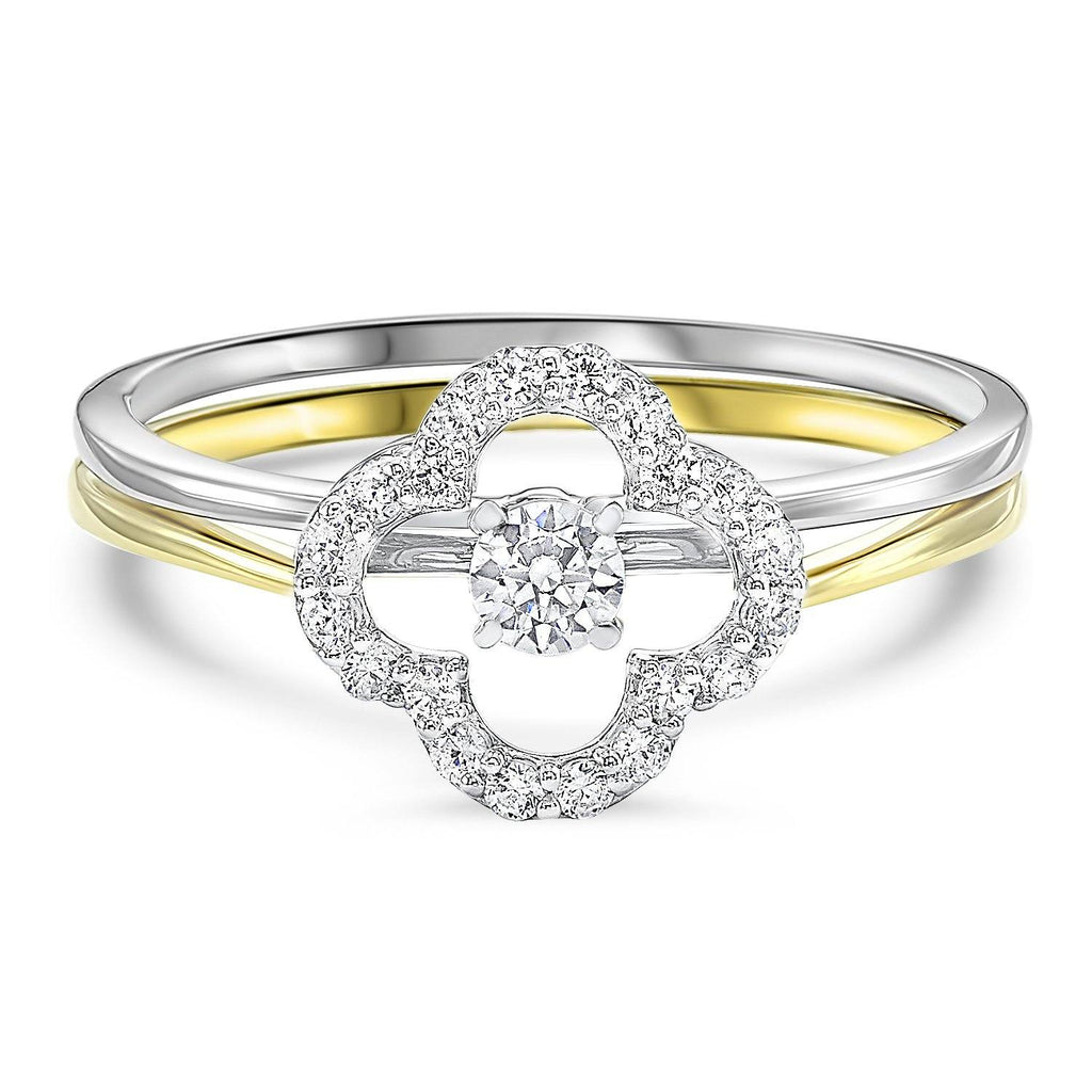 Two Tone Gold Diamond Bridal Set 1/4cttw Engagement Ring BW James Jewelers