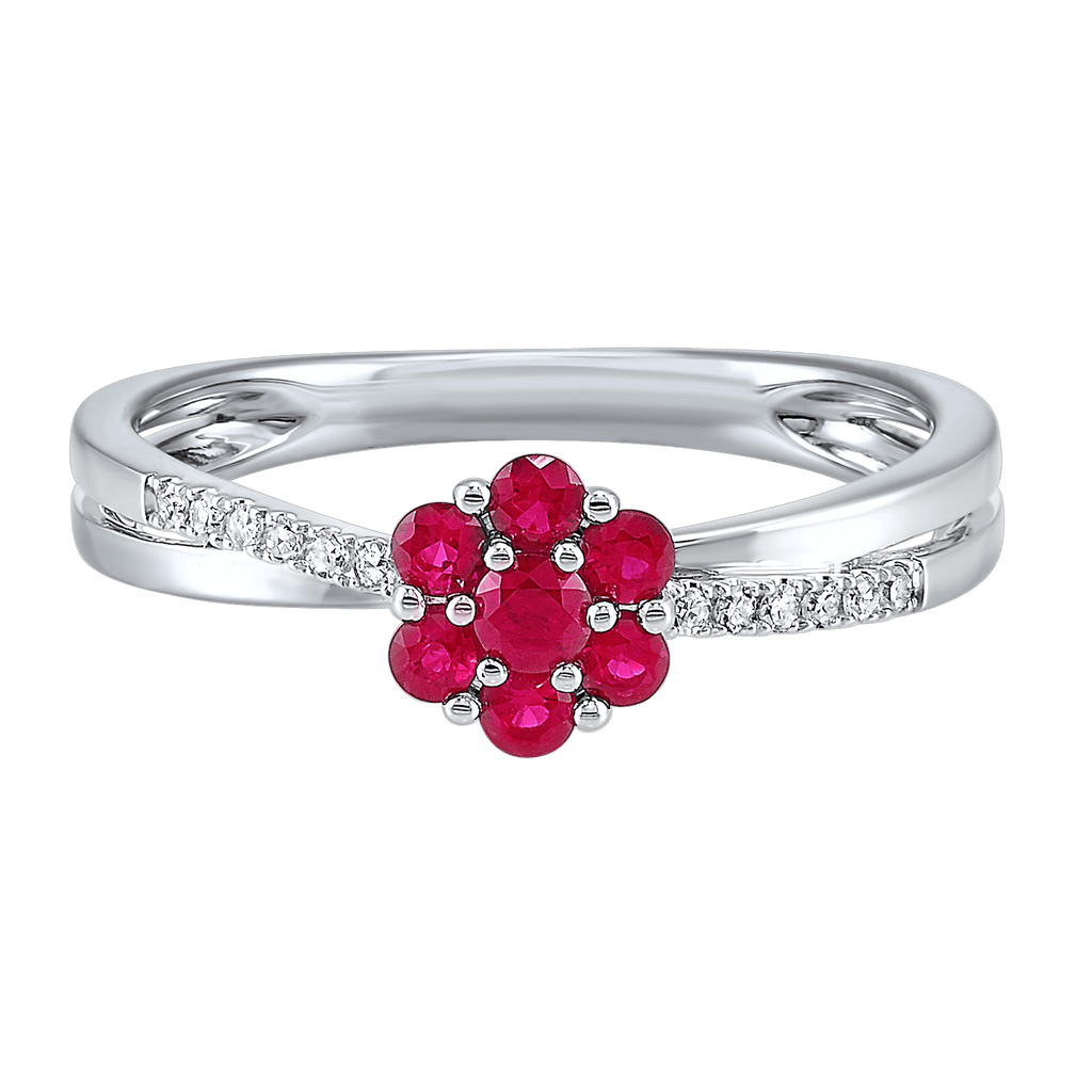 14K Diamond and Ruby Ring 3/8 gtw Ring BW James Jewelers