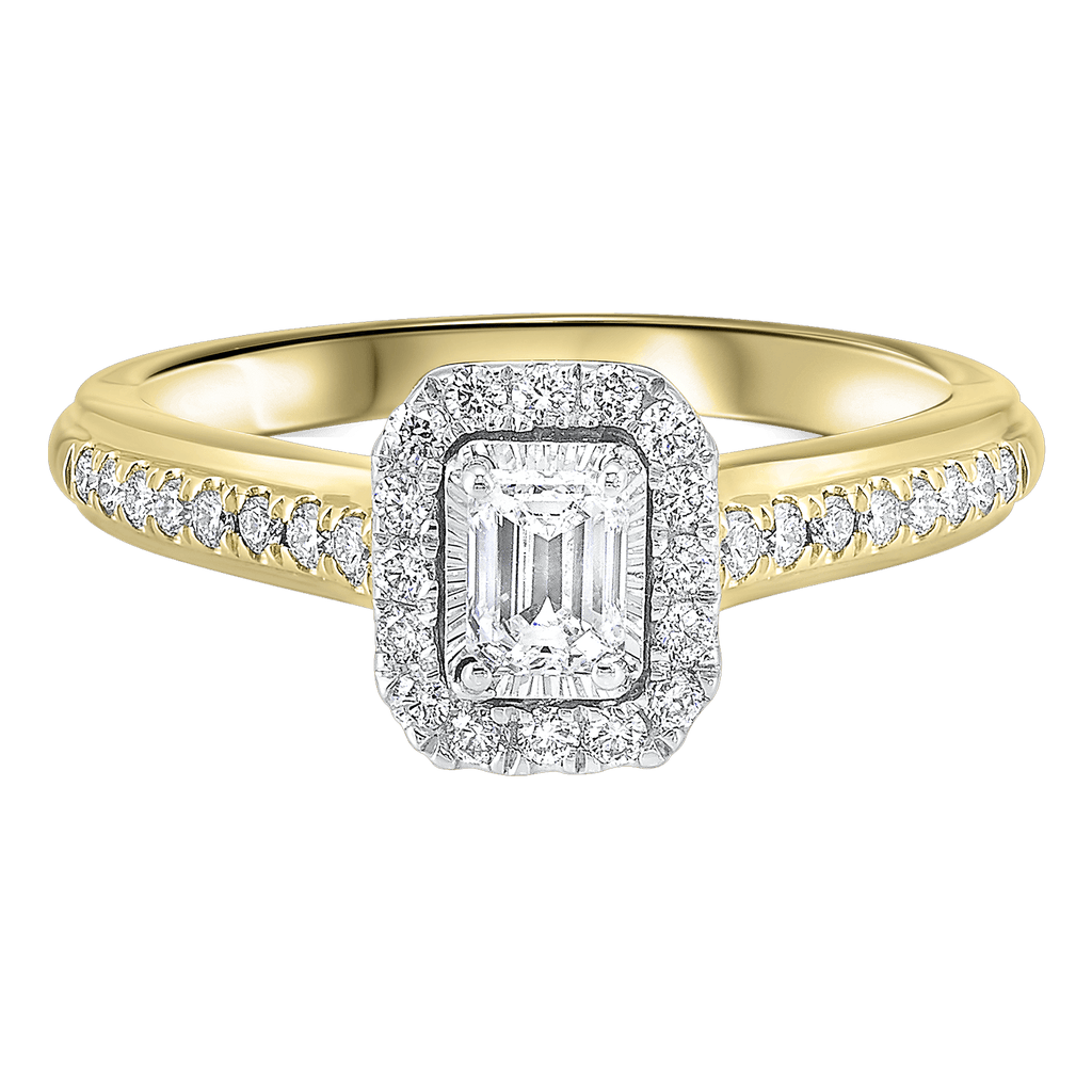 14K TT White/Yellow 1/2ctw Emerald Cut Ring with 1/3 center Ring BW James Jewelers