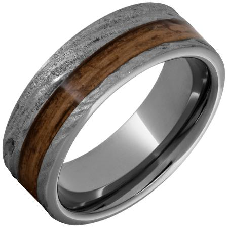 8mm Rugged Tungsten Flat Band with Off-Center Bourbon Barrel Inlay and Bark Finish Barrel Aged