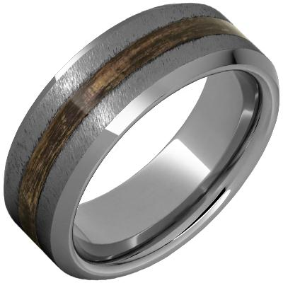 100% USA Made 8mm Rugged Tungsten Beveled Edge Band with Bourbon Barrel Aged™ Inlay and Grain Finish Barrel Aged