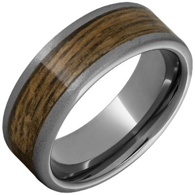 8mm Rugged Tungsten Flat Band with Bourbon Barrel Aged Inlay and Stone Finish Barrel Aged