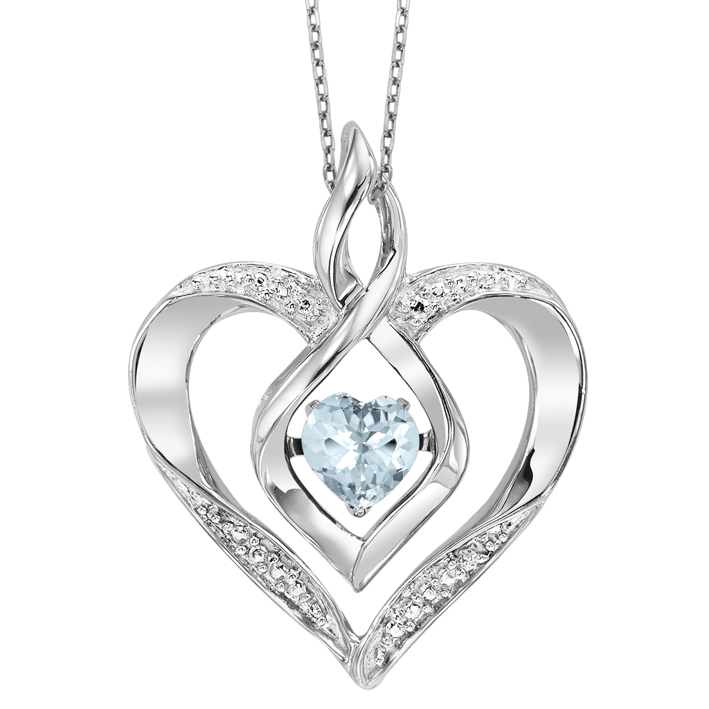 SS Diamond ROL-Birthst Heart Aquamarine Basics Pendant 1/250Ct Pendant BW James Jewelers