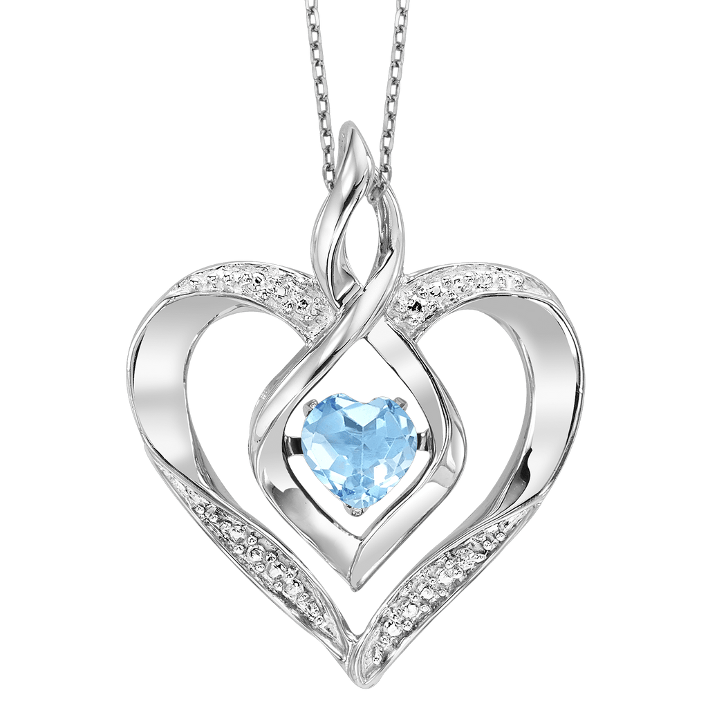 SS Diamond ROL-Birthst Heart Blue Topaz Basics Pendant 1/250Ct Pendant BW James Jewelers