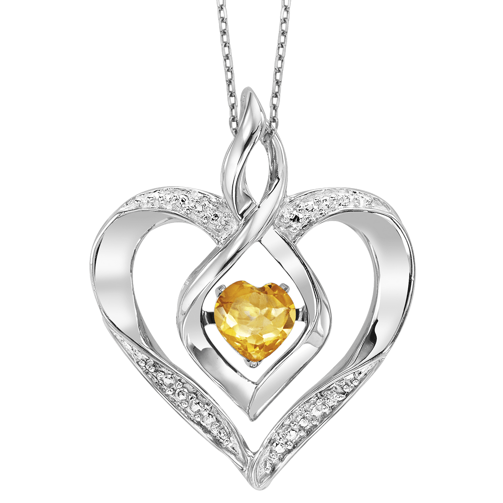SS Diamond ROL-Birthst Heart Basics Pendant 1/250Ct Pendant BW James Jewelers