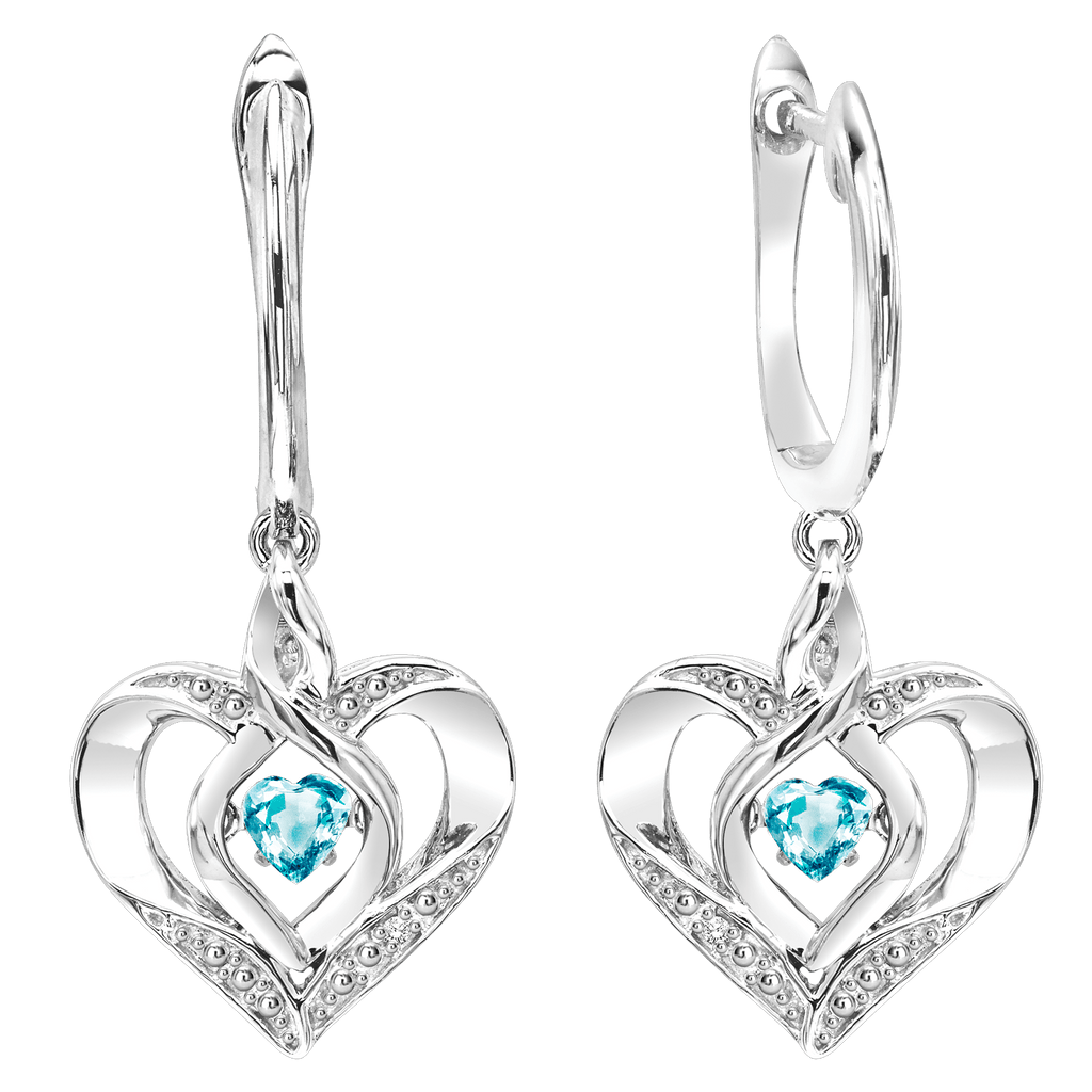 SS Diamond ROL-Birthst Heart Blue Topaz Basics Earring Earrings BW James Jewelers