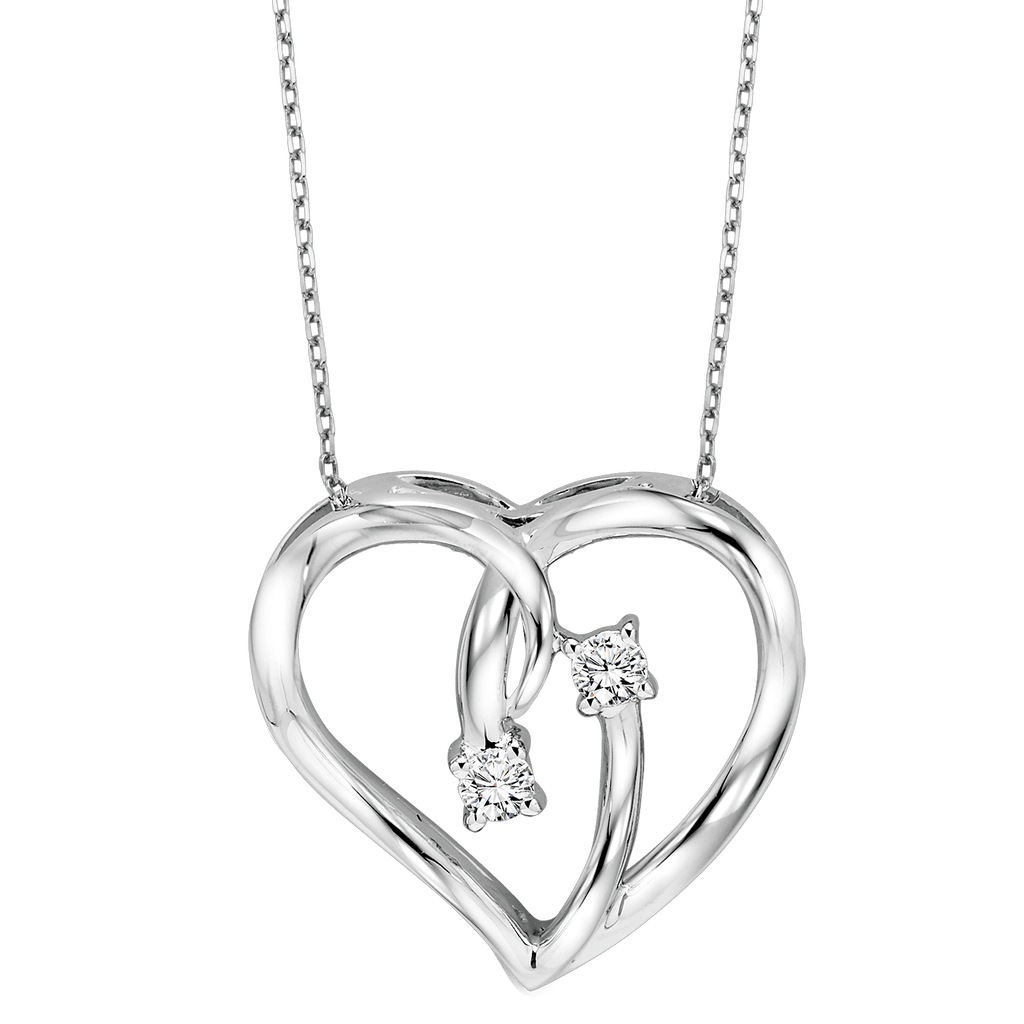 Silver Diamond Heart Pendant Pendant BW James Jewelers